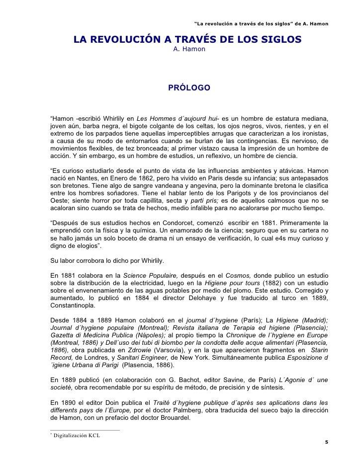 """""""La revolución a través de los siglos"""" de A. Hamon              LA REVOLUCIÓN A TRAVÉS DE LOS SIGLOS*                     ..."""