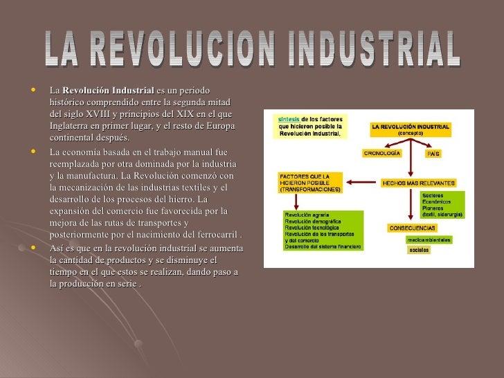 <ul><li>La  Revolución Industrial  es un periodo histórico comprendido entre la segunda mitad del siglo XVIII y principios...