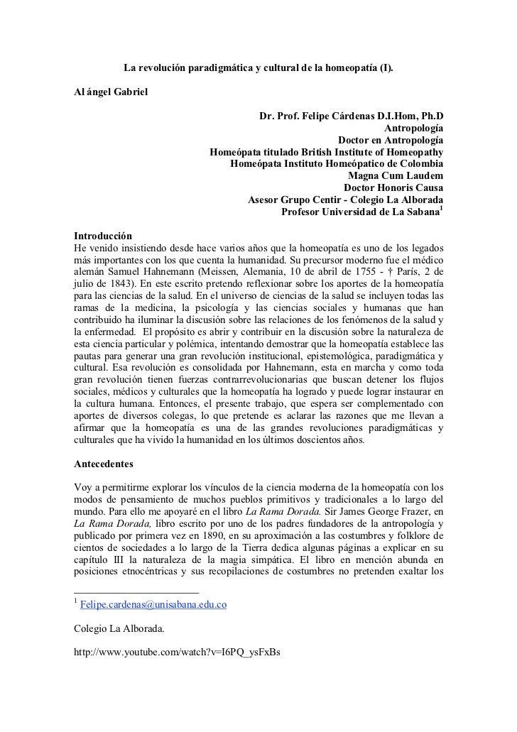 La revolución paradigmática y cultural de la homeopatía (I).Al ángel Gabriel                                          Dr. ...