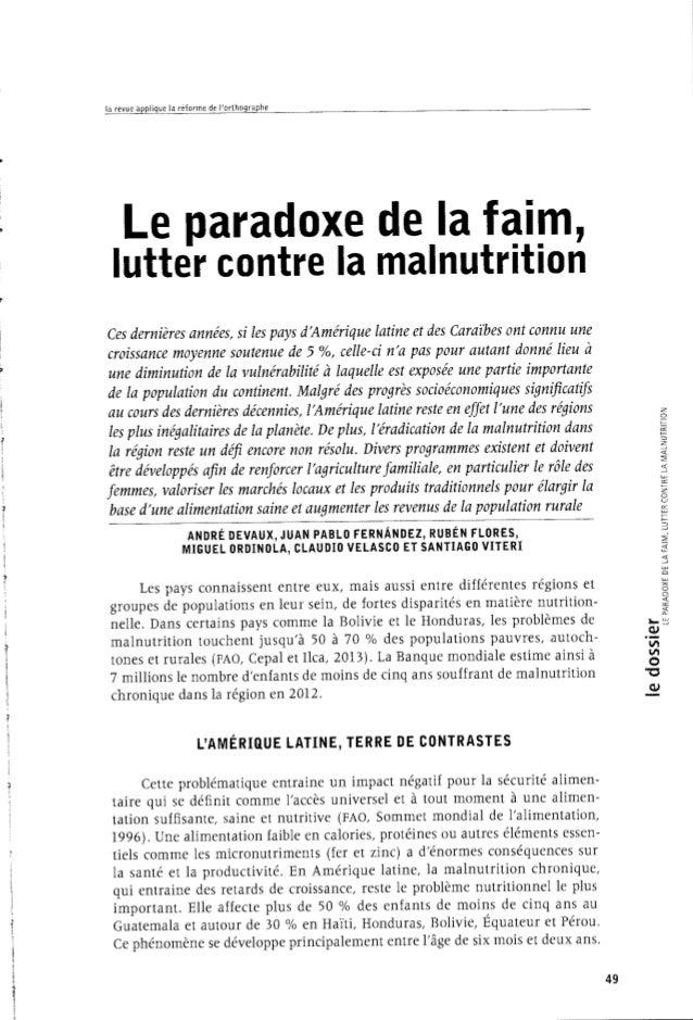 Le paradoxe de la faim lutter contre la malnutrition - Lutter contre la condensation ...