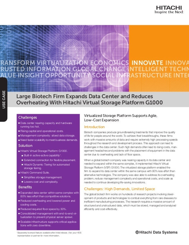 Use Case: Large Biotech Firm Expands Data Center and Reduces Overheating with Hitachi VSP G1000 Platform