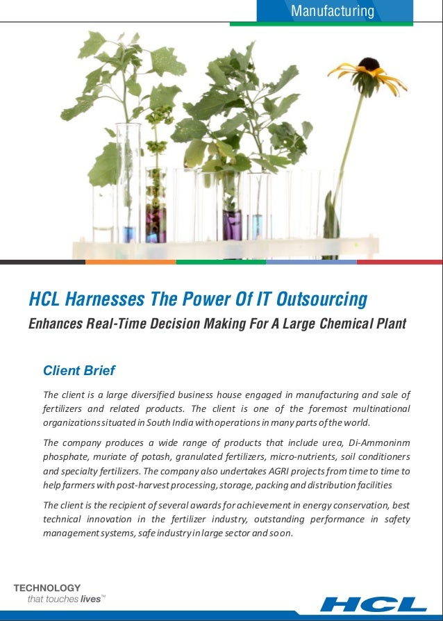 ManufacturingHCL Harnesses The Power Of IT OutsourcingEnhances Real-Time Decision Making For A Large Chemical Plant  Clien...