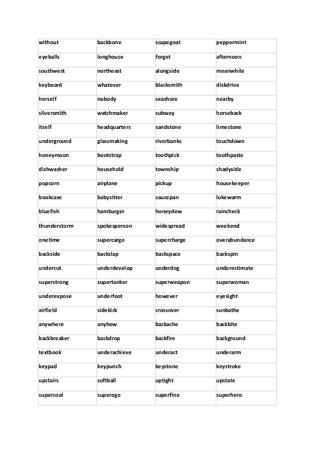 large list of  pound nouns to download in pdf