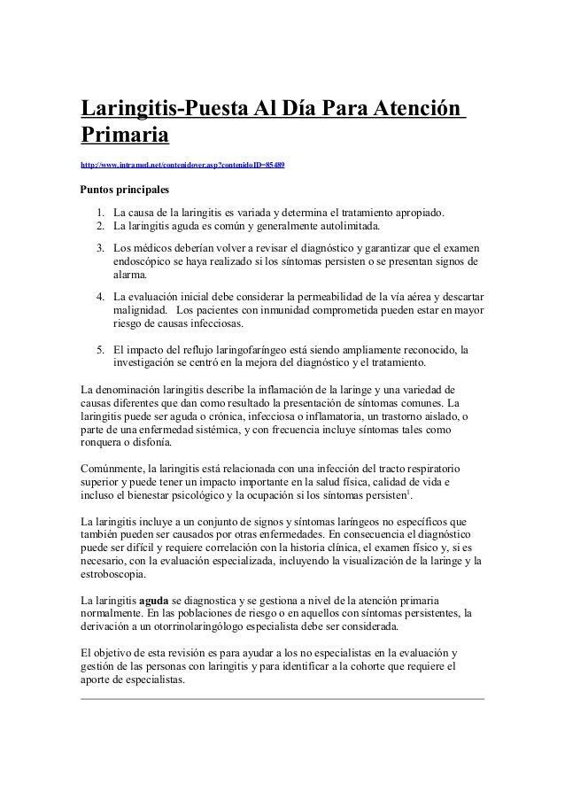 Laringitis-Puesta Al Día Para Atención  Primaria  http://www.intramed.net/contenidover.asp?contenidoID=85489  Puntos princ...