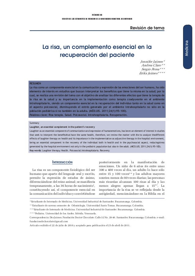 médicas uis revista de los estudiantes de medicina de la universidad industrial de santander Revisión de tema La risa, un ...
