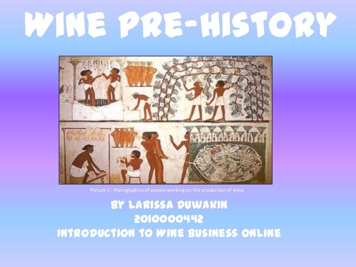 Wine Pre-History<br />Picture 1 : Hieroglyphics of people working on the production of wine.<br />By Larissa Duwakin<br />...