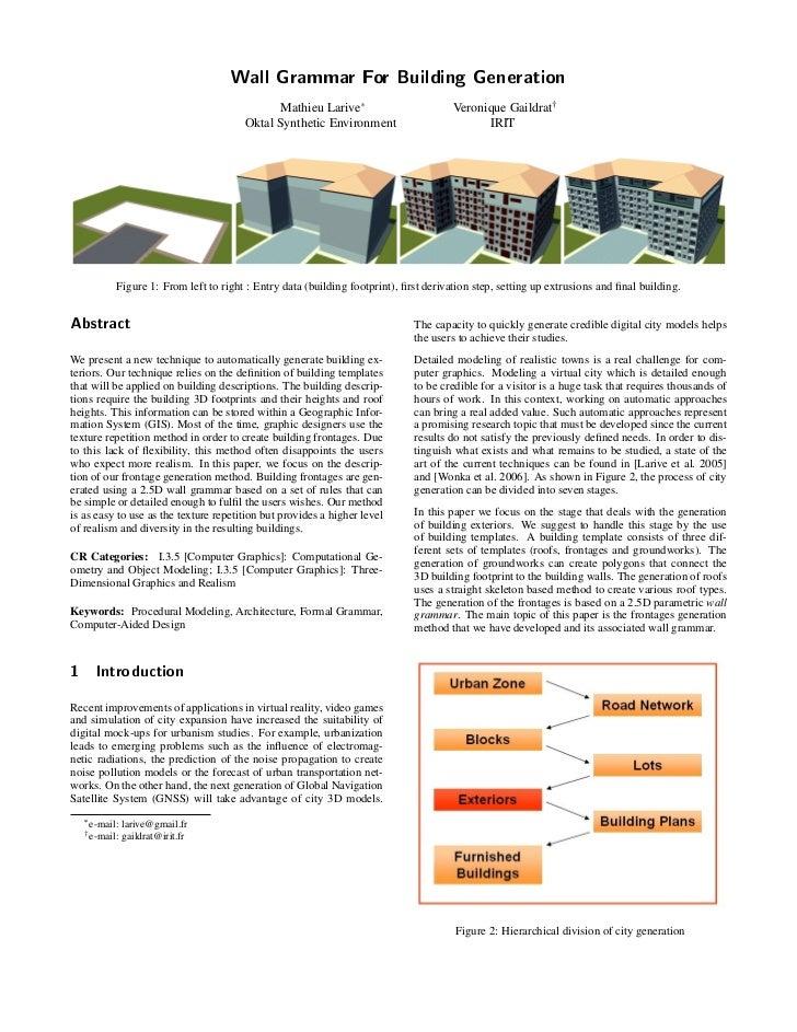 Wall Grammar For Building Generation                                               Mathieu Larive£                        ...
