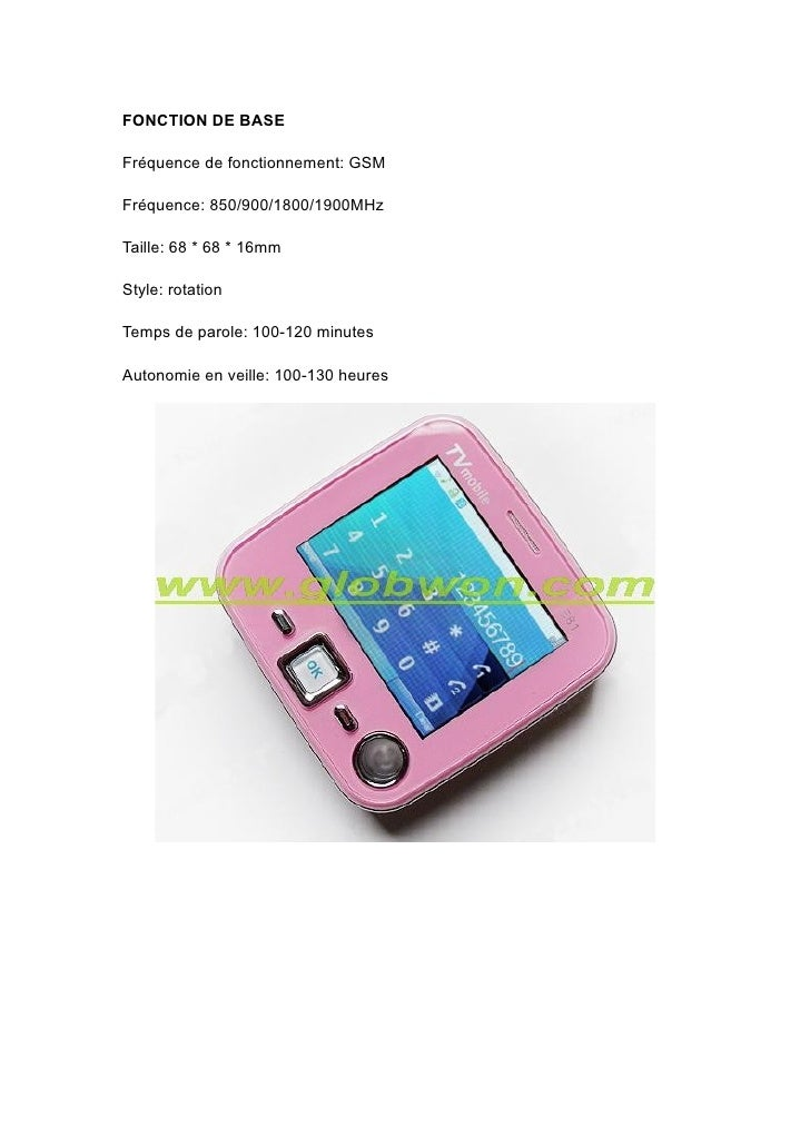 FONCTION DE BASE  Fréquence de fonctionnement: GSM  Fréquence: 850/900/1800/1900MHz  Taille: 68 * 68 * 16mm  Style: rotati...