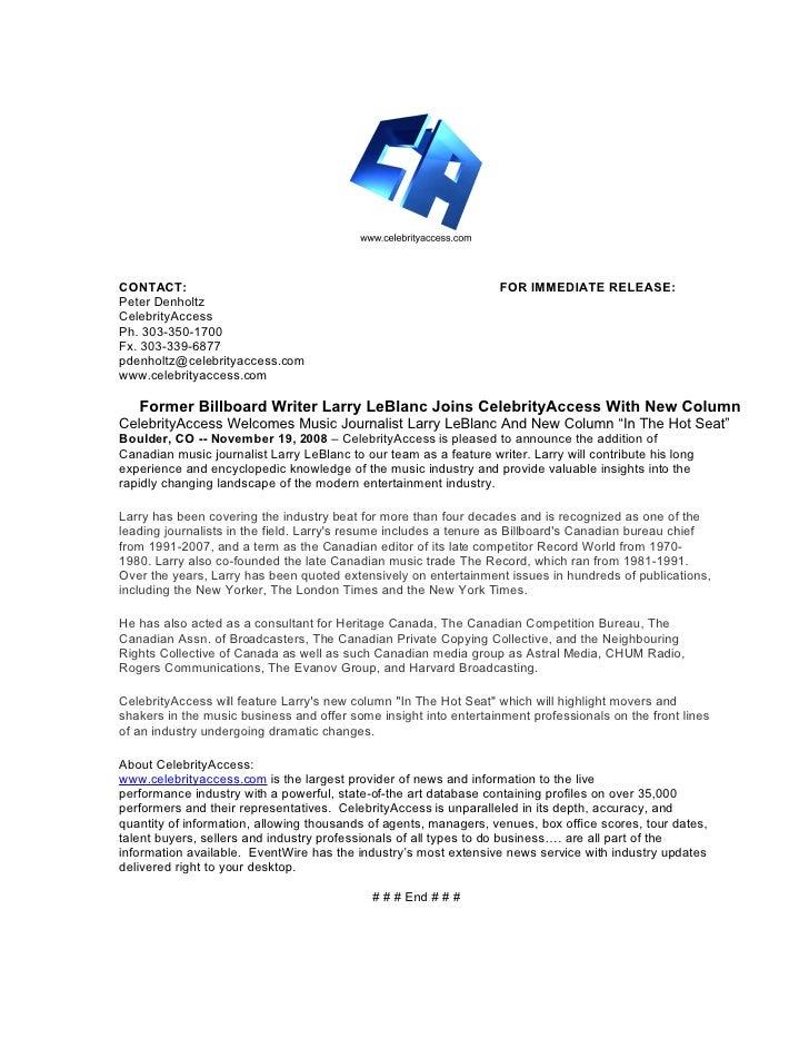 Former Billboard Writer Larry LeBlanc Joins CelebrityAccess With New Column