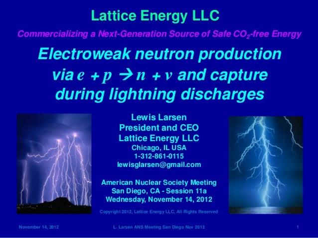 Lattice Energy LLCCommercializing a Next-Generation Source of Safe CO2-free Energy       Electroweak neutron production   ...