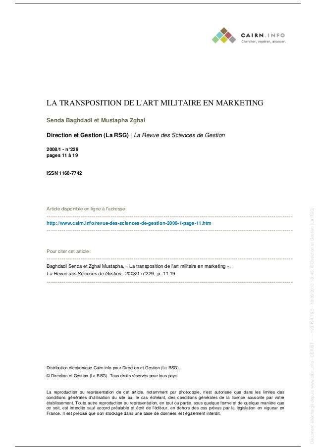 LA TRANSPOSITION DE L'ART MILITAIRE EN MARKETING Senda Baghdadi et Mustapha Zghal Direction et Gestion (La RSG) | La Revue...