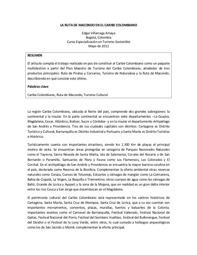 La ruta de macondo en el Caribe Colombiano