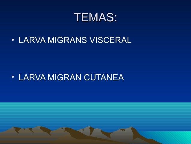 TEMAS:• LARVA MIGRANS VISCERAL• LARVA MIGRAN CUTANEA
