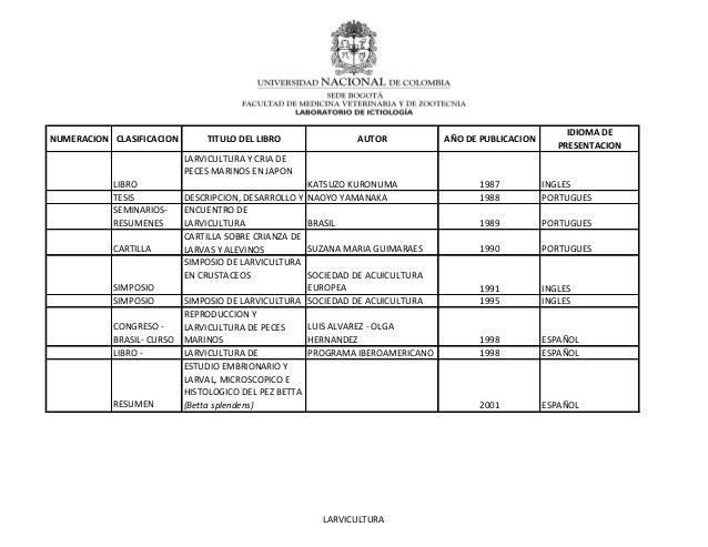 NUMERACION CLASIFICACION TITULO DEL LIBRO AUTOR AÑO DE PUBLICACIONIDIOMA DEPRESENTACIONLIBROLARVICULTURA Y CRIA DEPECES MA...
