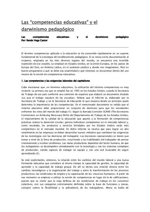 """Las """"competencias educativas"""" y el darwinismo pedagógico Las  «competencias  Por: Renán Vega Cantor  educativas»  y  el  d..."""
