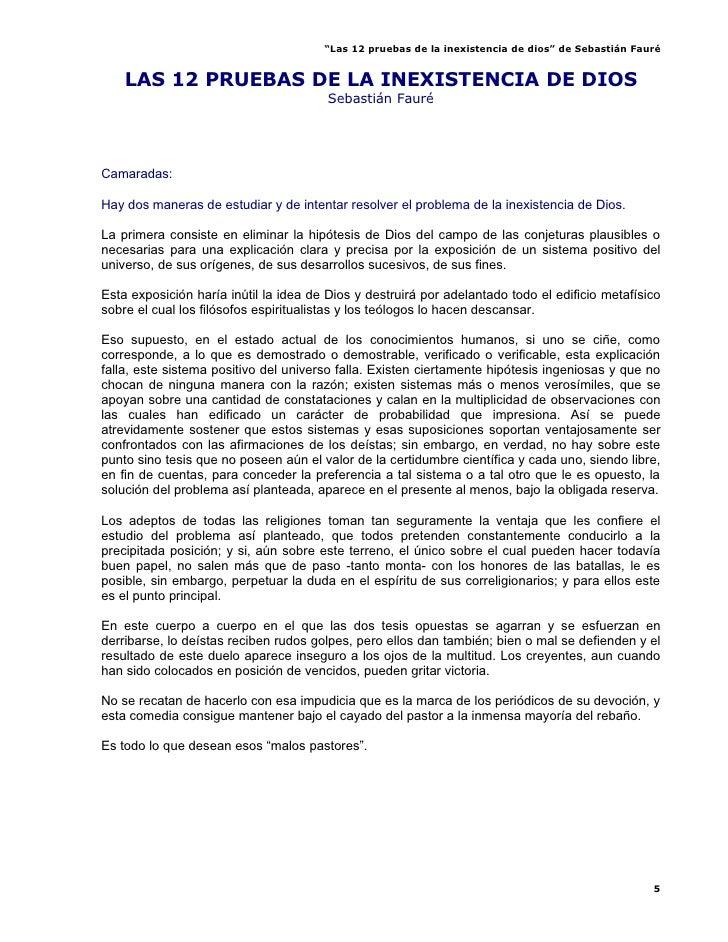 """""""Las 12 pruebas de la inexistencia de dios"""" de Sebastián Fauré       LAS 12 PRUEBAS DE LA INEXISTENCIA DE DIOS            ..."""