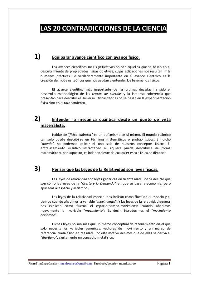 RicardJiménezGarcía–mundoaureo@gmail.comFacebook/google+:mundoaureo Página1  LAS20CONTRADICCIONESDELACIEN...