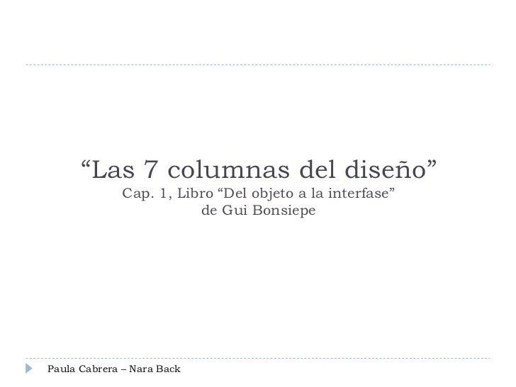 """Las 7 columnas del diseño""             Cap. 1, Libro ""Del objeto a la interfase""                        de Gui BonsiepePa..."
