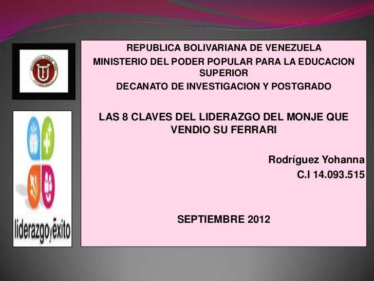 REPUBLICA BOLIVARIANA DE VENEZUELAMINISTERIO DEL PODER POPULAR PARA LA EDUCACION                    SUPERIOR     DECANATO ...