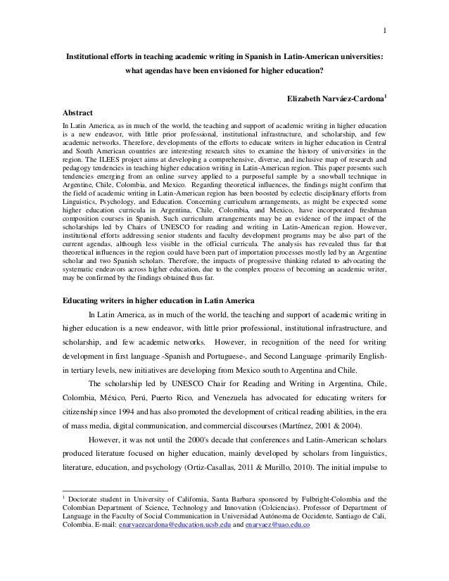 1 Institutional efforts in teaching academic writing in Spanish in Latin-American universities: what agendas have been env...