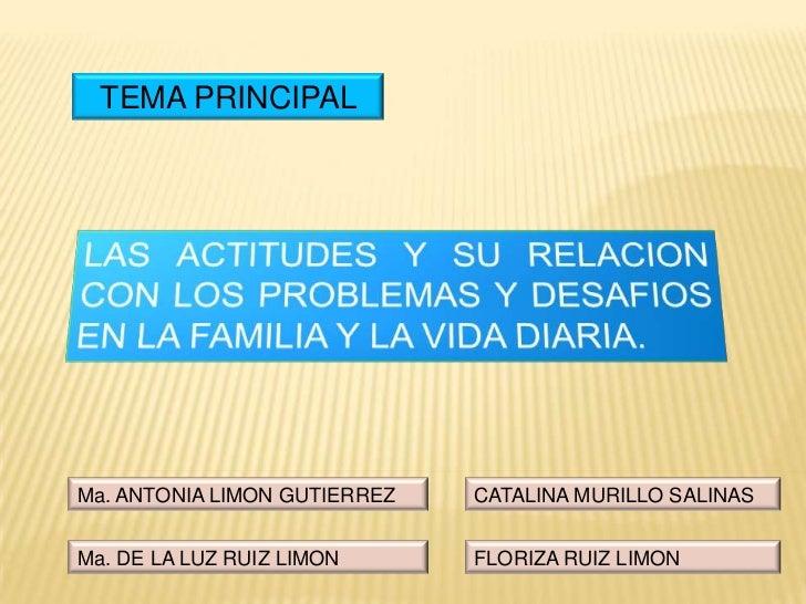 TEMA PRINCIPAL<br />LAS ACTITUDES Y SU RELACION CON LOS PROBLEMAS Y DESAFIOS EN LA FAMILIA Y LA VIDA DIARIA.<br />CATALINA...
