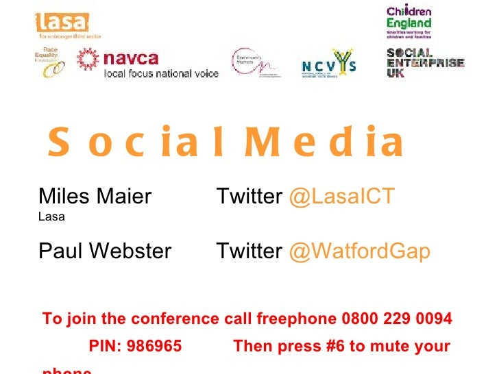 S o c ia l M e d iaMiles Maier          Twitter @LasaICTLasaPaul Webster         Twitter @WatfordGapTo join the conference...