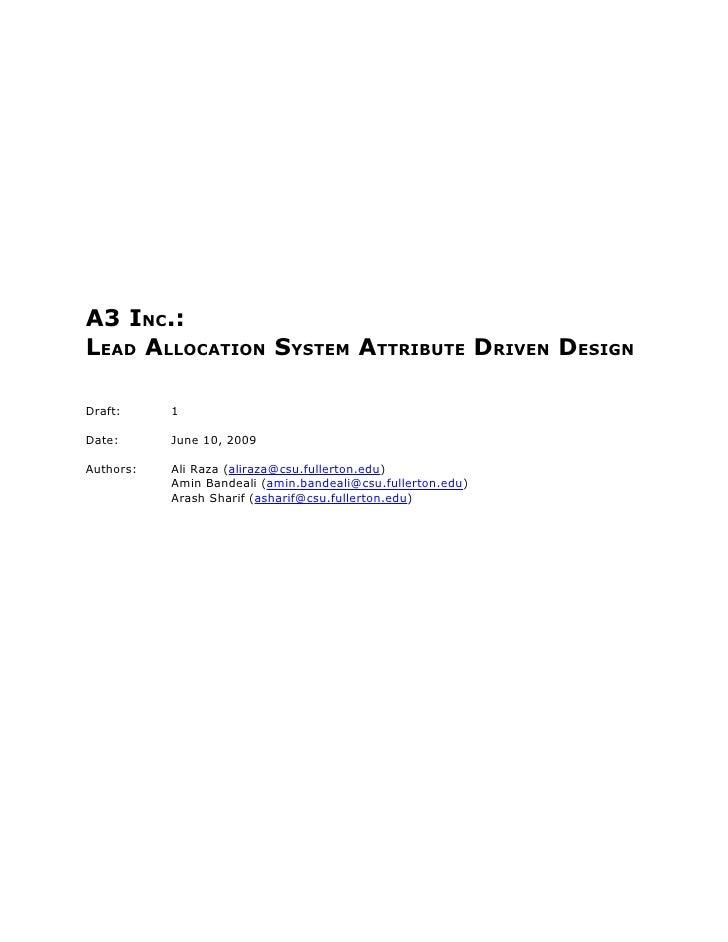 Lead Allocation System's Attribute Driven Design (ADD)