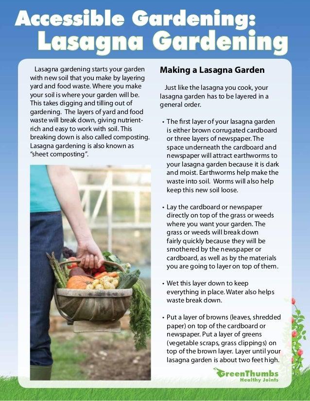 Accessible Gardening:   Lasagna Gardening   Lasagna gardening starts your garden     Making a Lasagna Garden with new soil...