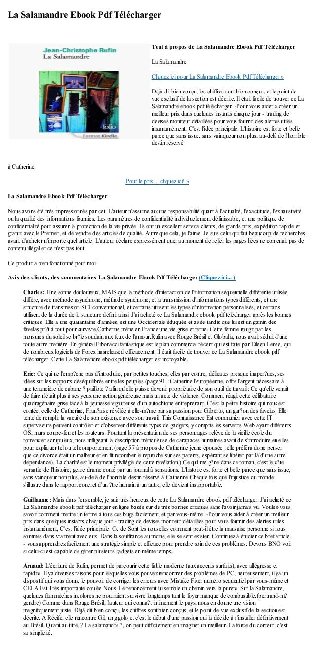 La Salamandre Ebook Pdf Téléchargerà Catherine.Pour le prix ... cliquez ici! »La Salamandre Ebook Pdf TéléchargerNous avon...