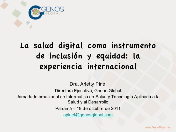 La salud digital como instrumento     de inclusión y equidad: la      experiencia internacional                          D...