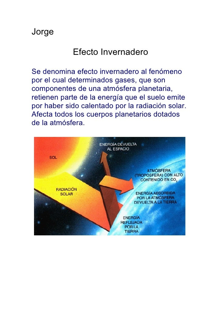 Jorge              Efecto Invernadero  Se denomina efecto invernadero al fenómeno por el cual determinados gases, que son ...