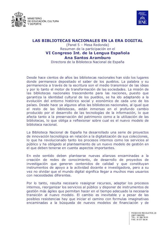 Las Bibliotecas Nacionales en la era digital. Ana Santos Aramburo