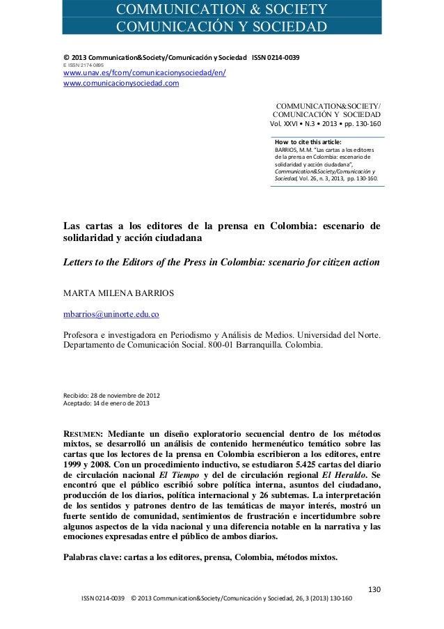COMMUNICATION & SOCIETY COMUNICACIÓN Y SOCIEDAD    130 ISSN0214‐0039©2013Communication&Society/Comu...