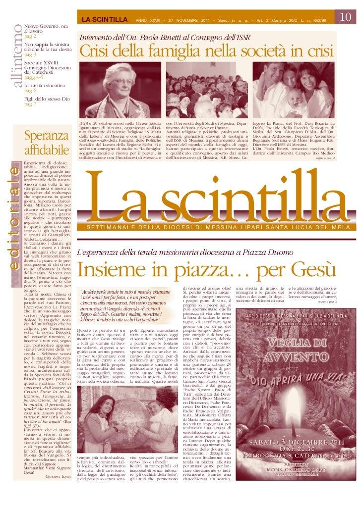 La ScintiLLa                    Anno XXVIII - 27 noVembre 2011 - Sped. in a. p. - Art. 2 Comma 20/C L. n. 662/96          ...