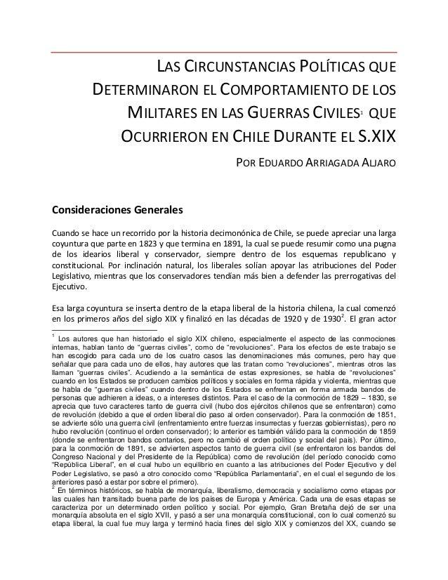 LAS CIRCUNSTANCIAS POLÍTICAS QUE DETERMINARON EL COMPORTAMIENTO DE LOS MILITARES EN LAS GUERRAS CIVILES1 QUE OCURRIERON EN...