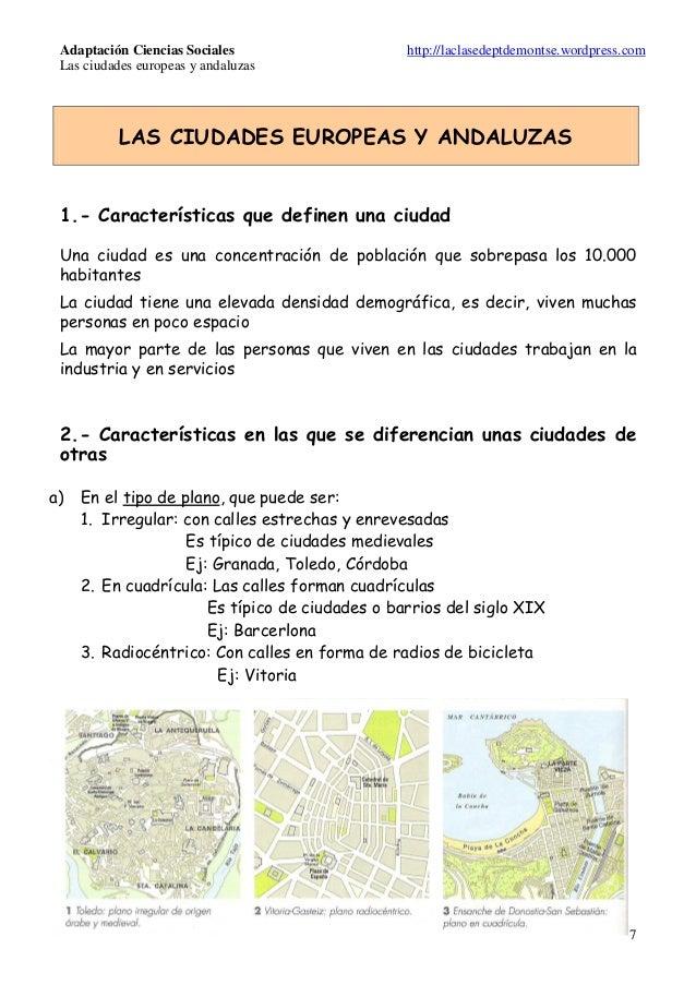 """Adaptación para Ciencias Sociales del tema """"Las ciudades europeas y andaluzas"""" para a.c.n.e.a.e"""