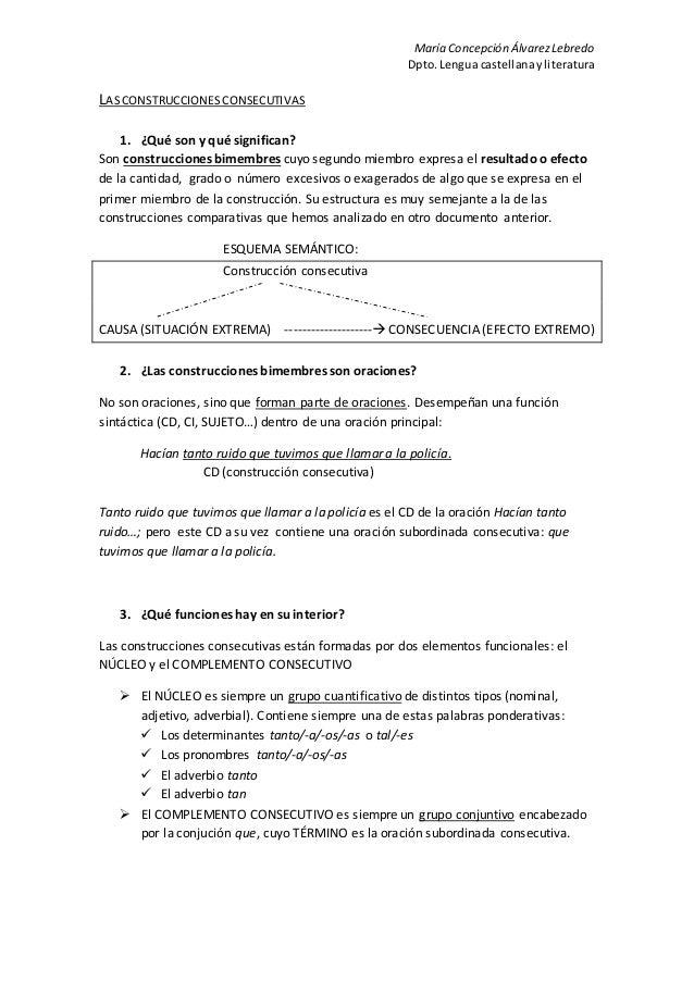 María Concepción ÁlvarezLebredo Dpto.Lengua castellanayliteratura LASCONSTRUCCIONESCONSECUTIVAS 1. ¿Qué son y qué signific...