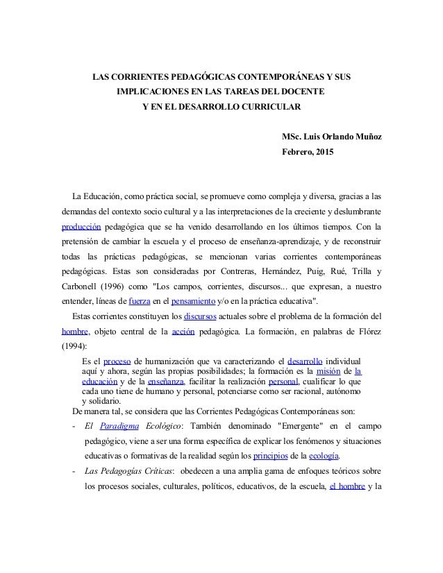 LAS CORRIENTES PEDAGÓGICAS CONTEMPORÁNEAS Y SUS IMPLICACIONES EN LAS TAREAS DEL DOCENTE Y EN EL DESARROLLO CURRICULAR MSc....