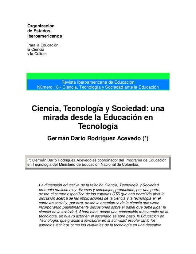 Ciencia, Tecnología y Sociedad: una mirada desde la Educación en Tecnología