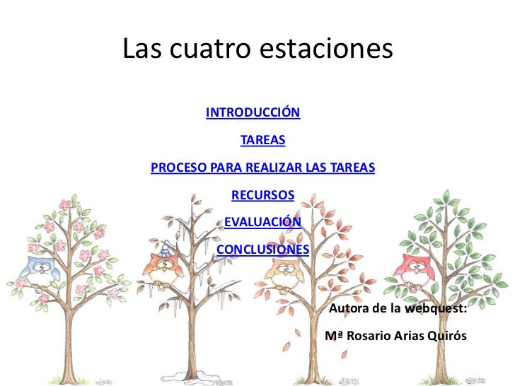 Las cuatro estaciones         INTRODUCCIÓN              TAREAS  PROCESO PARA REALIZAR LAS TAREAS             RECURSOS     ...