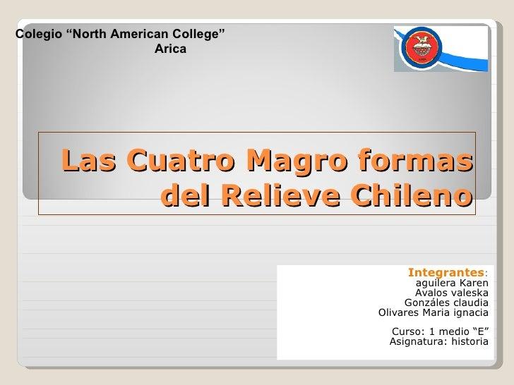 Las Cuatro Magro formas del Relieve Chileno Integrantes : aguilera Karen Avalos valeska Gonzáles claudia Olivares Maria ig...