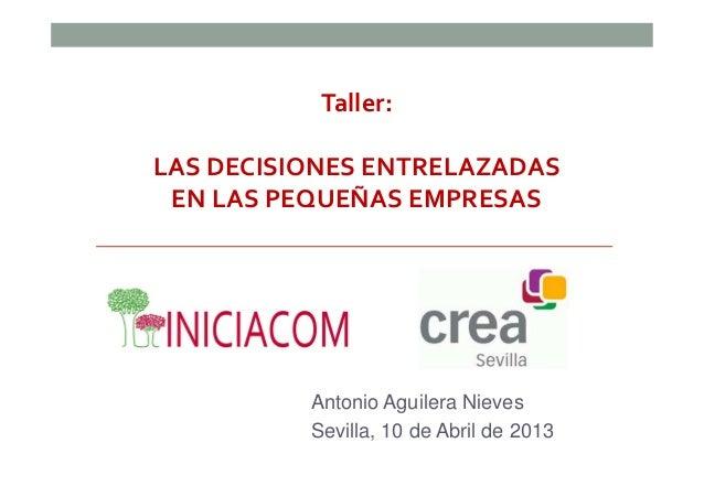 Taller:LAS DECISIONES ENTRELAZADAS EN LAS PEQUEÑAS EMPRESAS          Antonio Aguilera Nieves          Sevilla, 10 de Abril...
