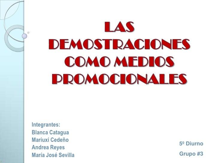 Las demostraciones como medios promocionales