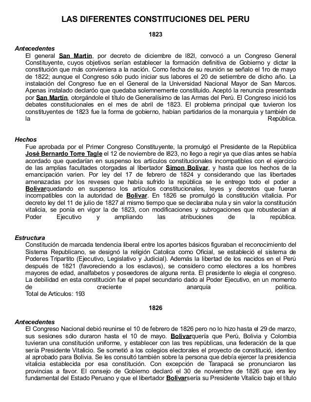 LAS DIFERENTES CONSTITUCIONES DEL PERU 1823 Antecedentes El general San Martin, por decreto de diciembre de l82l, convocó ...