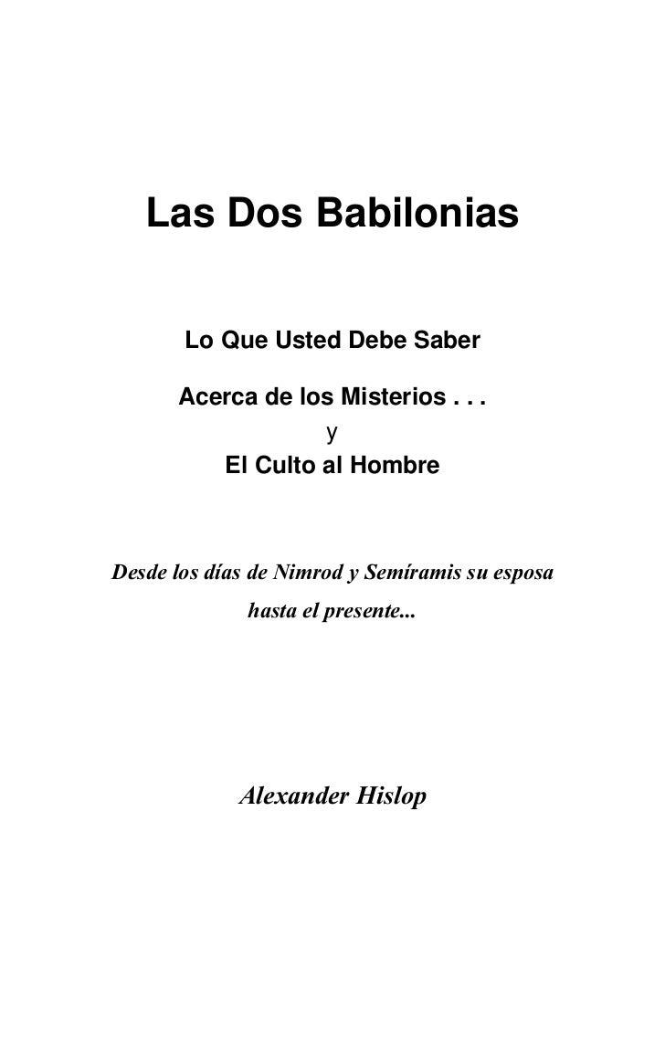 Las Dos Babilonias Alexander Hislop E