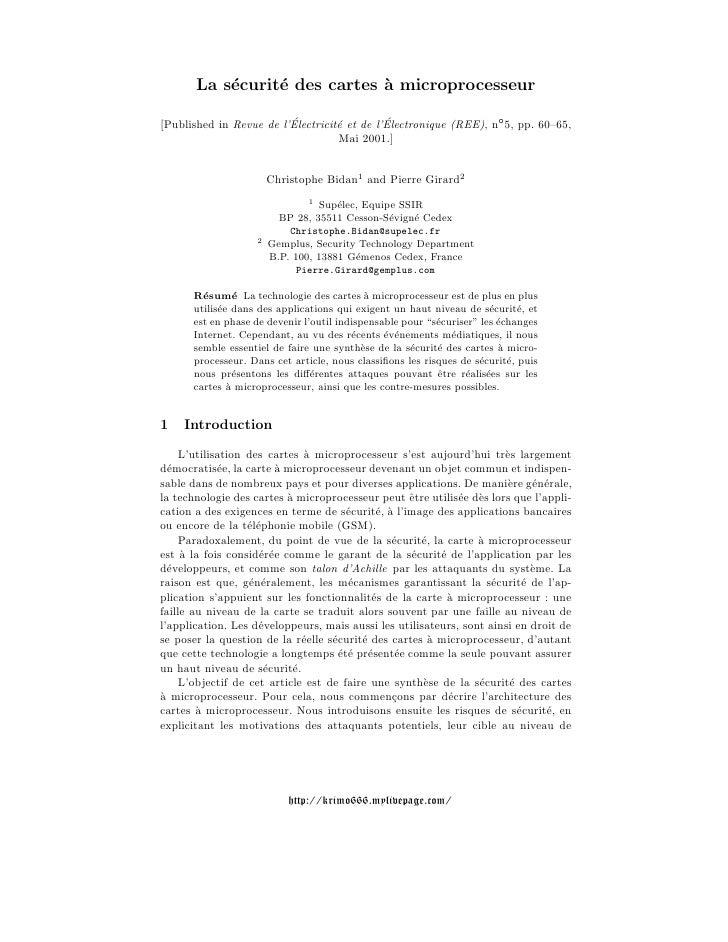La s´curit´ des cartes ` microprocesseur           e     e            a[Published in Revue de l'Electricit´ et de l'Electr...
