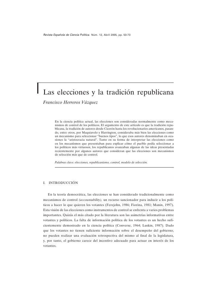 Revista Española de Ciencia Política. Núm. 12, Abril 2005, pp. 53-73     Las elecciones y la tradición republicana Francis...