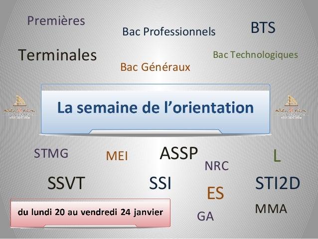 Premières  Terminales  STMG  SSVT  Bac Professionnels  Bac Technologiques  Bac Généraux  MEI  ASSP SSI  BTS  NRC  ES GA  L...
