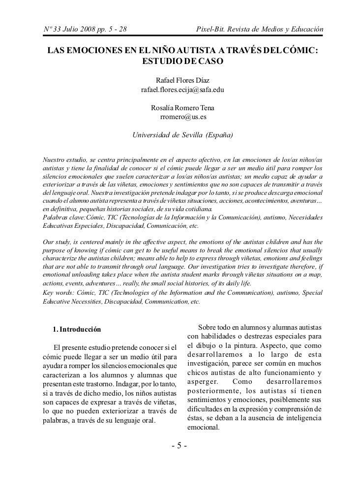 Nº 33 Julio 2008 pp. 5 - 28                               Pixel-Bit. Revista de Medios y Educación LAS EMOCIONES EN EL NIÑ...