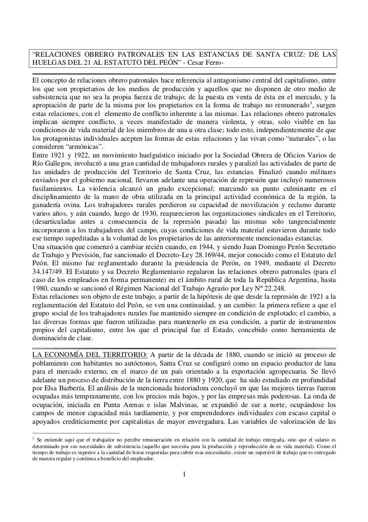 """""""RELACIONES OBRERO PATRONALES EN LAS ESTANCIAS DE SANTA CRUZ: DE LASHUELGAS DEL 21 AL ESTATUTO DEL PEÓN"""" - Cesar Ferro-El ..."""